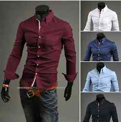 Luxury Casual Stylish Men Slim Fit Collared Dress Shirts 5 Sizes and Colors PK31 $14.99