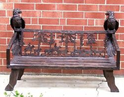 Cast Bronze Traditional Eagle Statue Bench