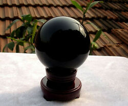 500g HOT SELL NATURAL OBSIDIAN POLISHED BLACK CRYSTAL SPHERE BALL 70MM STAND $23.77