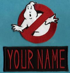 ADULT size Ghostbusters No Ghost 1 amp; Custom Name Tag Patch Set iron on style $18.99