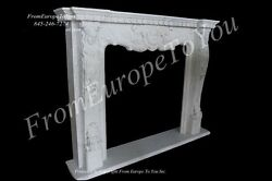 BEAUTIFUL HAND CARVED FRENCH STYLE EUROPEAN DESIGN MARBLE FIREPLACE MANTEL
