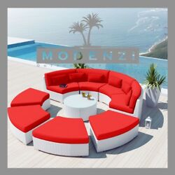 MODENZI DELUXE 9R WHITE Outdoor Wicker Sofa Patio Furniture Set Couch Chair