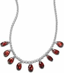 ELLE Jewelry - AUTUMN SUNRISE Sterling Silver 16 in. + 2 in. Red CZ Necklace