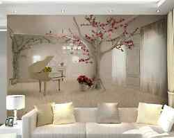 Huge 3D White Tree Piano Paper Wall Print Decal Wall Deco Indoor Wall Murals