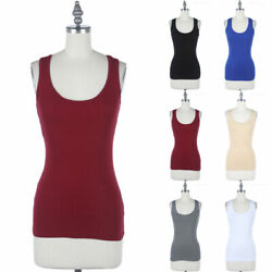 Junior Plus Size Solid Tank Top Sleeveless Scoop Neck Basic Casual 1XL 2XL 3XL $8.99