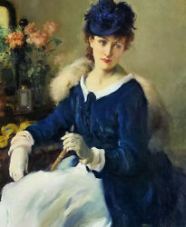 Oil painting Fernand Toussaint - an elegant woman sitting by table no framed art
