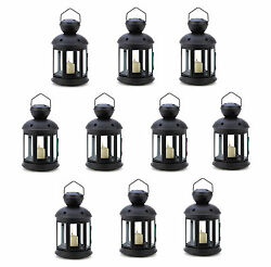 10 BLACK COLONIAL Iron and Glass Candle Lanterns NEW