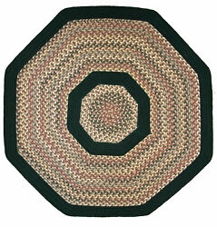 Pioneer Valley II Autumn Wheat with Dark Green Solids Multi Octagon Outdoor Rug
