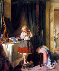 Oil painting edward charles barnes - the haircut little girl in dressing mirror