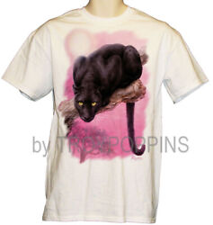 1-BLACK PANTHER BIG CAT MOON PINK SKY WILDLIFE ZOO WEAR GRAPHIC PRINTED T-SHIRT