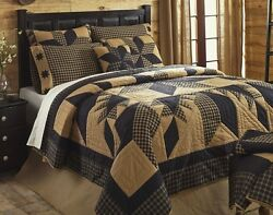 RUSTIC COUNTRY BLACK STAR 3pc * Cal King * QUILT SET : WESTERN CABIN COMFORTER