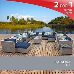 Catalina 17 Piece Outdoor Wicker Patio Furniture Set 17a 2 for 1