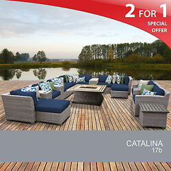 Catalina 17 Piece Outdoor Wicker Patio Furniture Set 17b 2 for 1