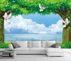 3D Mega White Doves And Trees 58 Wall Paper Wall Print Decal Wall AJ WALLPAPER