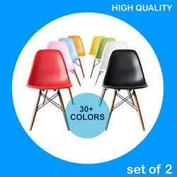Set of 2 : 30+Colors Mid Century Modern DSW Plastic Chair wood.eamesesque