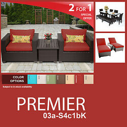 Premier 12 Piece Outdoor Wicker Patio Package PREMIER-03a-S4c1bK 2 for 1