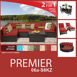 Premier 18 Piece Outdoor Wicker Patio Furniture Package PREMIER-06a-S6KZ 2 for 1