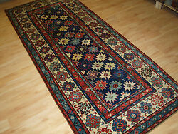 ANTIQUE CAUCASIAN TALISH LONG RUG WITH STAR DESIGN SUPERB COLOURS MID 19TH C.