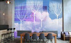 3D White trees in clouds 22  Wall Paper Wall Print Decal Wall Deco AJ WALLPAPER