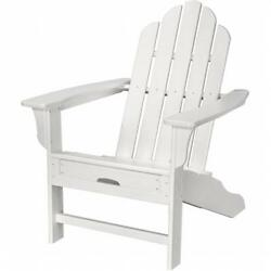 Hanover HVLNA15WH All-Weather Adirondack Chair With Attached Ottoman White
