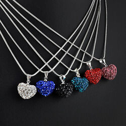 Heart Silver Plated Fashion Crystal Necklace Jewelry Pendant Chain gift