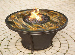 TK Classics Stained Glass Gas Fire Pit Table
