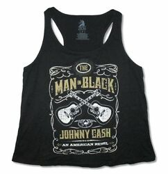Johnny Cash Guitars Crest Womens Black Plus Size Tank Top Shirt New Official