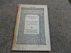 Riverside Literature Series Number 182 She Stoops To Conquer by Oliver Goldsmith