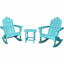 Hanover ADROCKER3PCAR All-Weather 3 Piece Adirondack Rocking Chair Set Aruba