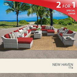 New Haven 17 Piece Outdoor Wicker Patio Furniture Set 17a 2 for 1
