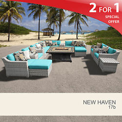 New Haven 17 Piece Outdoor Wicker Patio Furniture Set 17b 2 for 1