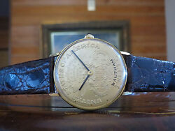 Mega Rare WALTHAM COIN WATCH with original Waltham Buckle Saphire Crown and Box