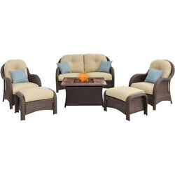 Hanover Newport 6 Piece Fire Pit Deep Seating Group with Cushions