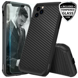For iPhone 12 11 Pro Max XS XR X 8 7 Plus Carbon Fiber Hard CaseTempered Glass $8.95