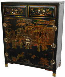Oriental Furniture Lacquer 2 Drawer Accent Cabinet