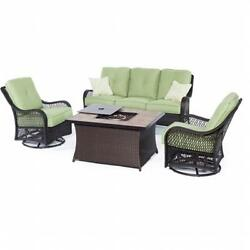 Hanover Orleans 4 Piece Fire Pit Seating Set Green Stone Tile Top