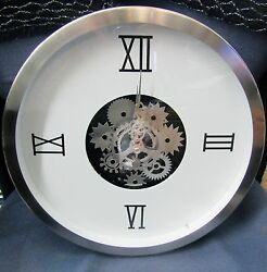 GEARS WALL CLOCK 14quot; DIAMETER WHITE DIAL W MOVING GEARS IN CENTER 42826 $189.00