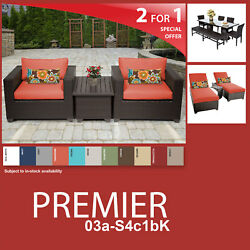 Premier 12 Piece Outdoor Wicker Patio Package PREMIER-03a-S4c1bK - Tangerine
