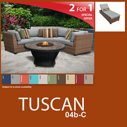Tuscan 5 Piece Outdoor Wicker Patio Package TUSCAN-04d-C - Grey