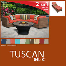 Tuscan 5 Piece Outdoor Wicker Patio Package TUSCAN-04d-C - Tangerine