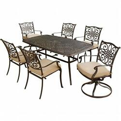 Traditions Outdoor Patio Dining Set 7 Pieces (4 Dining 2 Swivel Chairs 38