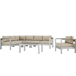 Modway Shore Outdoor Patio Aluminum 6 Piece Sectional Seating Group with Cushion
