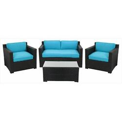 NorthLight 4 Pieces Black Resin Wicker Outdoor Patio Furniture Set Blue Cushions