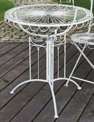 G2369: Nostalgia Garden Table Balcony Table Iron Antique White 27 58in