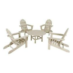 Classic Folding Adirondack Conversation Group Pacific Blue and Lime 5 Piece