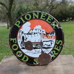 Vintage Pioneer Food Stores Porcelain Sign Wagon Cow Western Decor