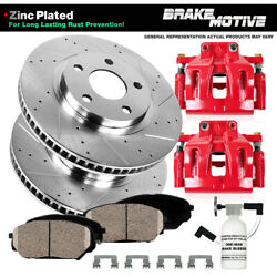 Front Red Brake Calipers And Rotors + Pads For Jeep Cherokee Wrangler
