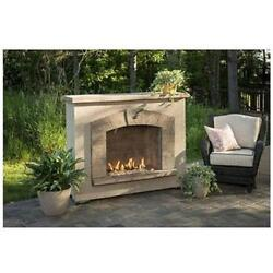 OutdoorGreatroom SAFP-1224 Stone Arch Gas Fireplace Stucco Finish
