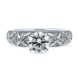 BERRICLE Sterling Silver Round CZ Solitaire Criss Cross Engagement Ring 1.25 CTW