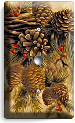 PINE CONES LIGHT DIMMER CABLE WALL PLATE COVER HOME WOOD CABIN RUSTIC ROOM DECOR $10.99